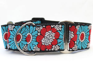 Hendrix Extra Wide Martingale Dog Collar & Sky Blue Velvet Leash