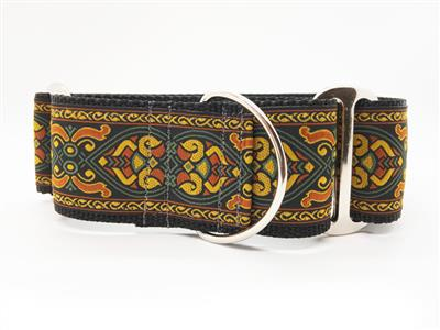 Bohemian Rhapsody Extra Wide Martingale Dog Collar & Sable Velvet Leash