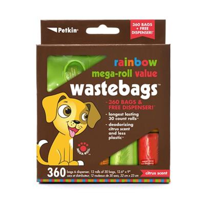 PetKin Bamboo Eco Mega-Roll Waste Bags - 360 count w/ Dispenser