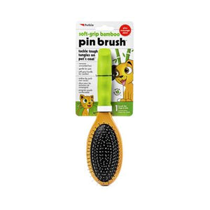 Petkin Soft Grip Bamboo Pin Brush