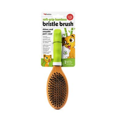 Petkin Soft Grip Bamboo Bristle Brush