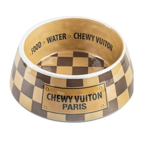 Checker Chewy Vuiton Bowls & Mat
