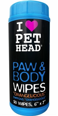 Pet Head Paw & Body Wipes - 50 pack Orangelicious