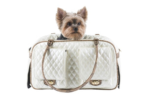 Marlee - Ivory Quilted With Snake Dog Carrier