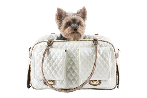 Marlee - Ivory Quilted With Snake Dog Carrier - PetStoreNMore