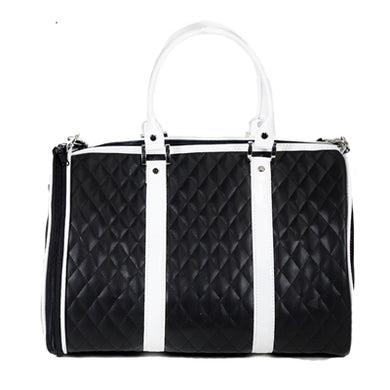 JL Duffel Black & White Quilted Luxe