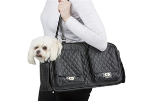 Marlee - Black Quilted Dog Carrier - PetStoreNMore