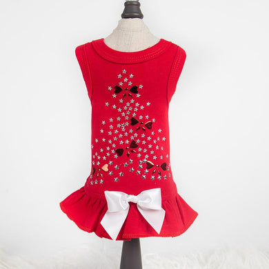 Holiday Sparkle Dog Dress With Bow