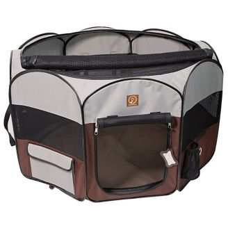 One for Pets Grey/Brown Portable Dog Playpen