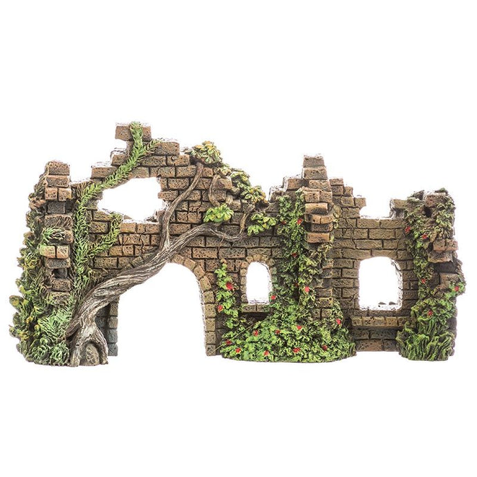 Blue Ribbon Exotic Environments Cobblestone Castle Walls Aquarium Ornament