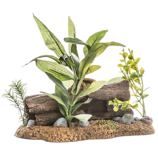 Blue Ribbon Exotic Environments Log Cavern Jungle Floral Aquarium Ornament - PetStoreNMore