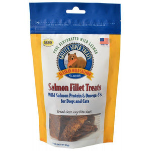 Grizzly Super Treats Salmon Fillet Treats for Dogs & Cats - 3 oz - PetStoreNMore