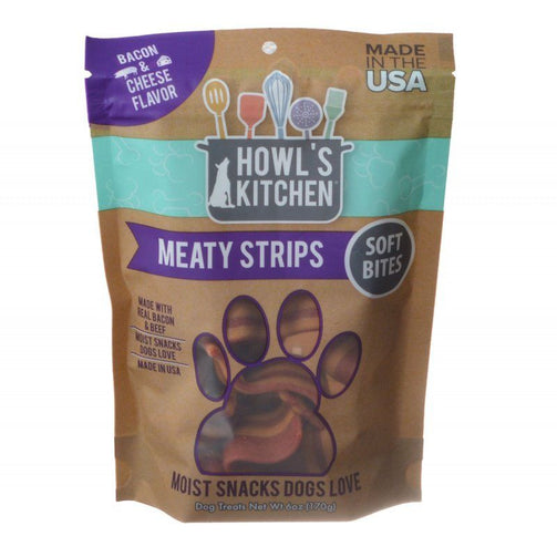 Howl's Kitchen Meaty Strips Soft Bites - Bacon & Cheese Flavor - 6 oz - PetStoreNMore