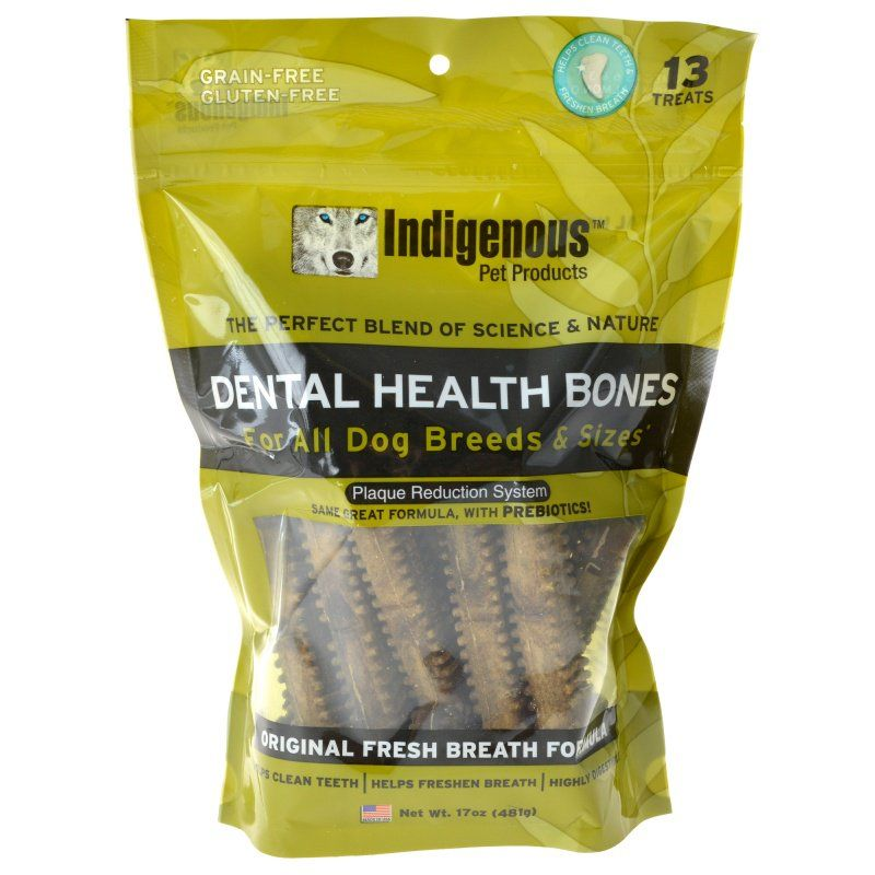 Indigenous Dental Health Bones - Fresh Breath Formula - 13 Count - PetStoreNMore