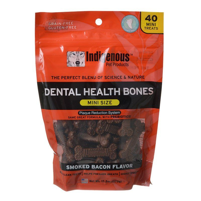 Indigenous Dental Health Mini Bones - Smoked Bacon Flavor - 40 Count - PetStoreNMore