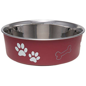 Loving Pets Stainless Steel & Merlot Dish with Rubber Base - PetStoreNMore