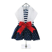 Load image into Gallery viewer, Nautical Dog Dress with Matching Leash - PetStoreNMore