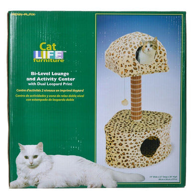 Penn Plax Cat Life Leopard Print Lounge & Activity Center - PetStoreNMore