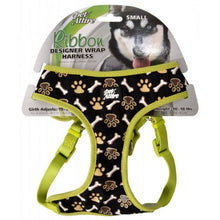 Load image into Gallery viewer, Pet Attire Ribbon Brown Paw & Bones Designer Wrap Adjustable Dog Harness - PetStoreNMore