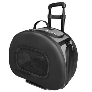Pet Life Wheeled Tough-Shell Black Collapsible Pet Carrier - PetStoreNMore