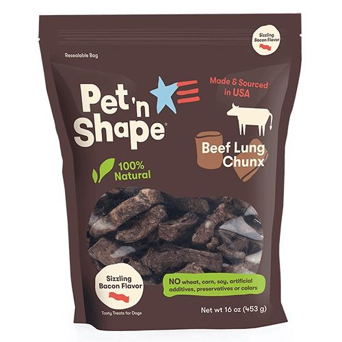 Pet 'n Shape Natural Beef Lung Chunx Dog Treats - Sizzling Bacon Flavor - 1 lb - PetStoreNMore