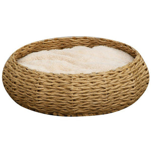 Pet Pals Woven Round Paper Basket Pet Bed with Pillow - PetStoreNMore
