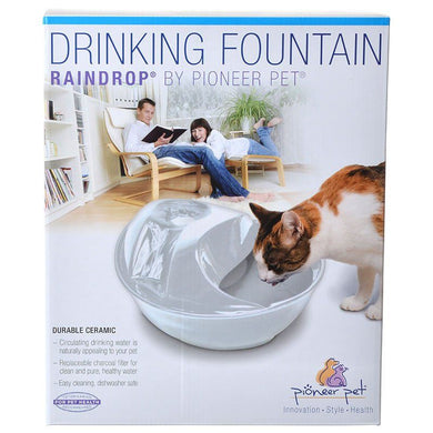 Pioneer Raindrop Ceramic Drinking Fountain - White