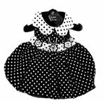 Polka Dot Dog Dress - Black and White - PetStoreNMore