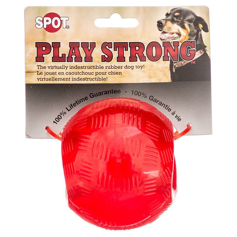 Spot Play Strong Rubber Ball Dog Toy - Red