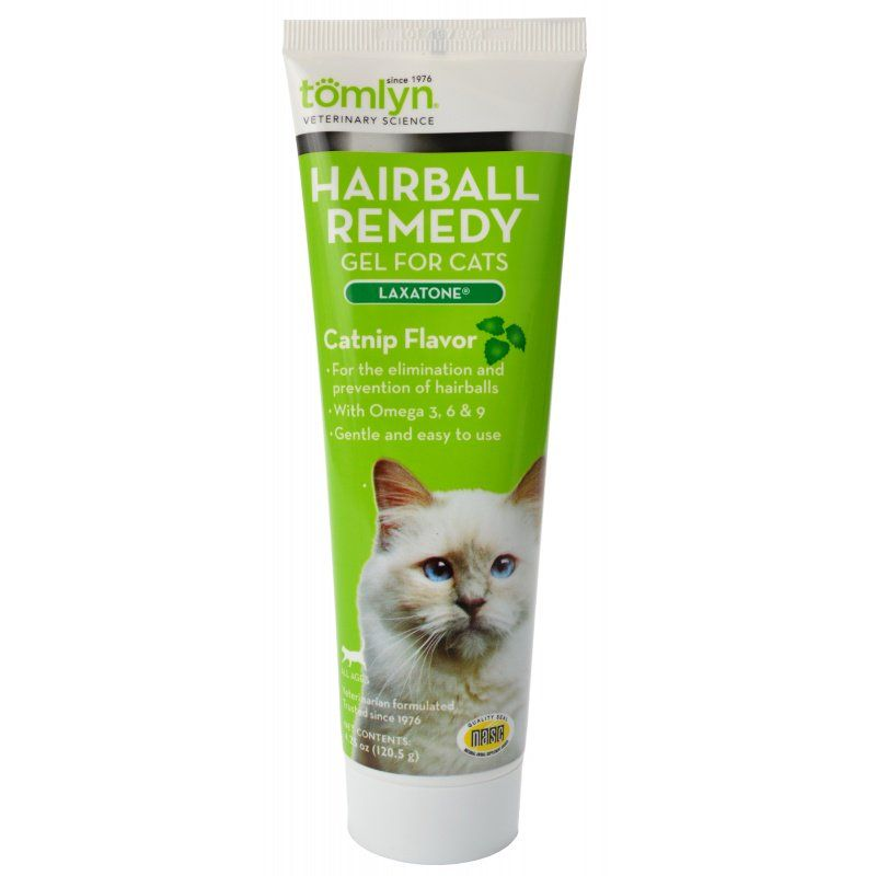 Tomlyn Laxatone Hairball Remedy Gel for Cats - Catnip Flavor 4.25 oz