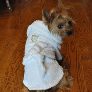 White Cotton Dog Bathrobe Clothing