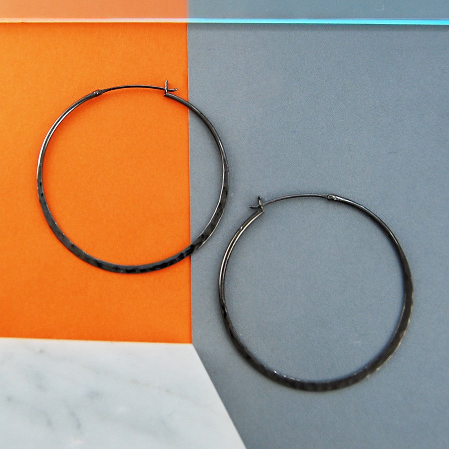 Oxidised Silver Large Hoop Earrings - Otis Jaxon Silver Jewellery