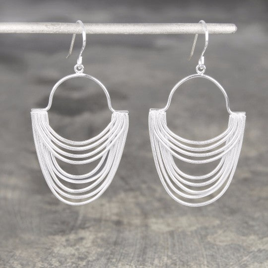 Silver Layered Chain Long Drop Earrings - Otis Jaxon Silver Jewellery