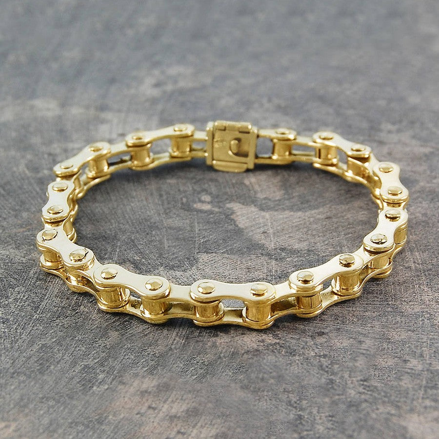 Mens Bike Chain Gold Bracelet