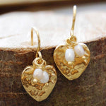 Organic Pearl and Gold Heart Drop Earrings