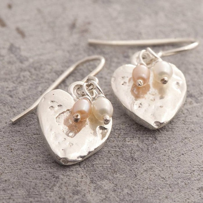 Organic Heart Pearl Drop Earrings with Pink and White Pearls