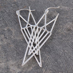 Aztec Geometric Silver Drop Earrings