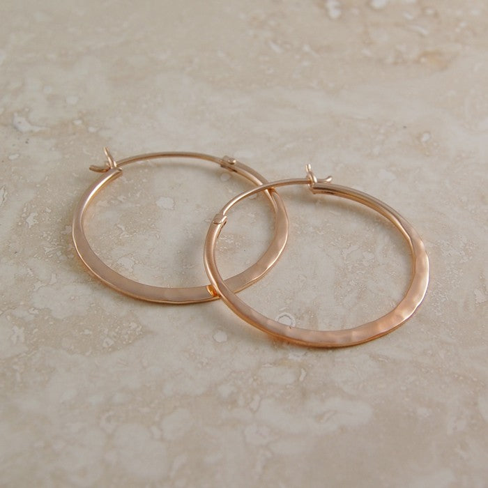 Large Hammered Rose Gold Hoop Earrings - Otis Jaxon Silver Jewellery