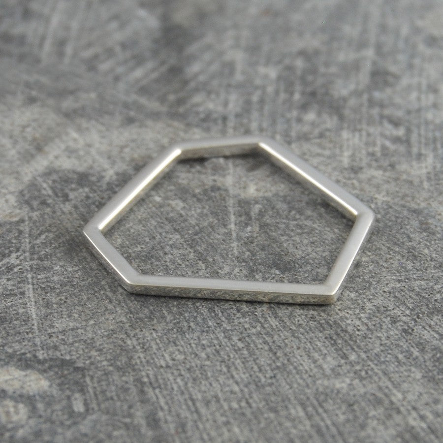 Hexagon Geometric Contemporary Silver Ring
