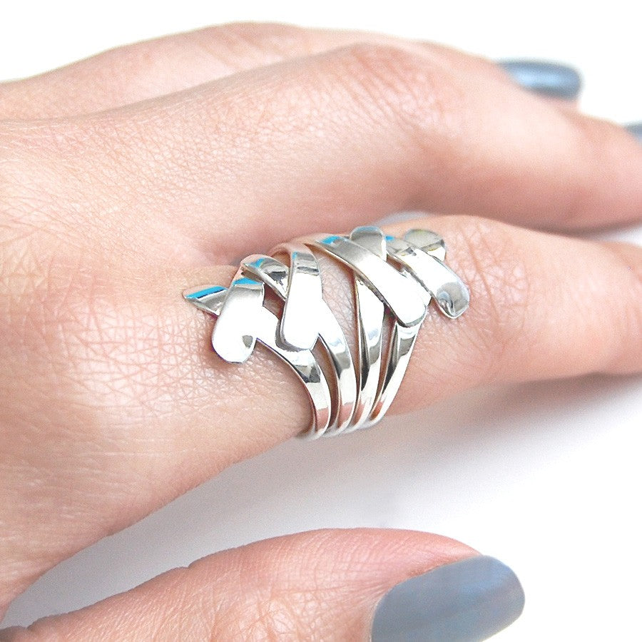 Ribbon Overlap Contemporary Silver Ring - Otis Jaxon Silver Jewellery
