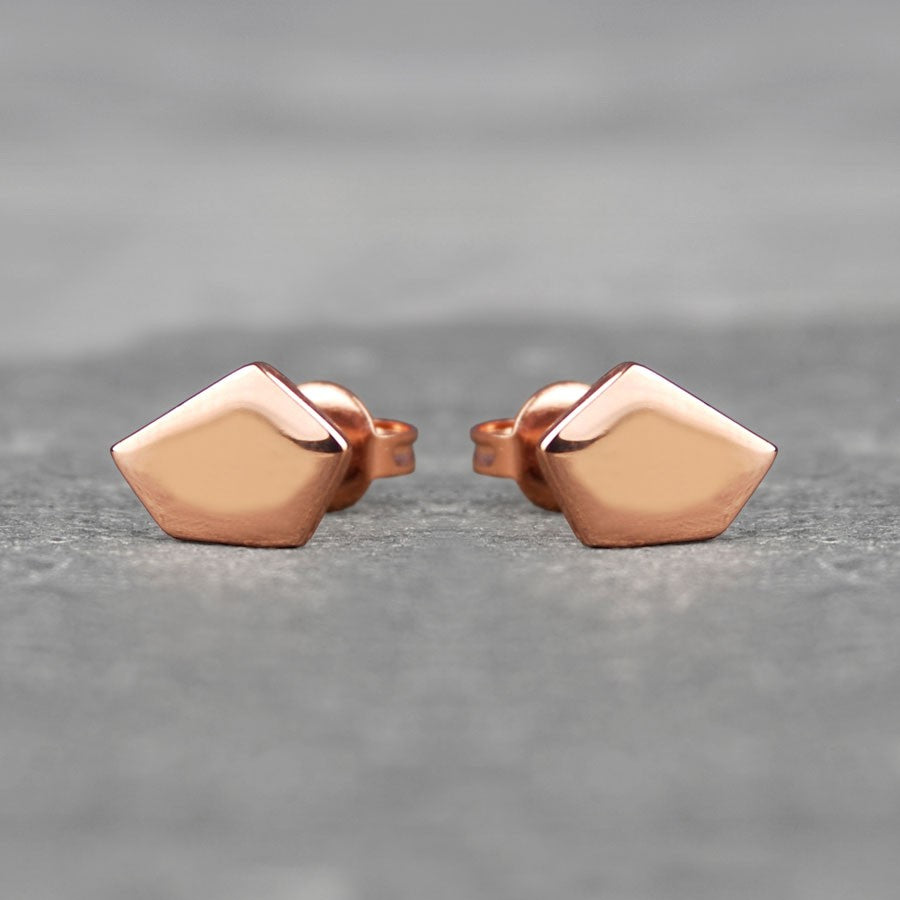 Geometric Pentagon Rose Gold Stud Earrings