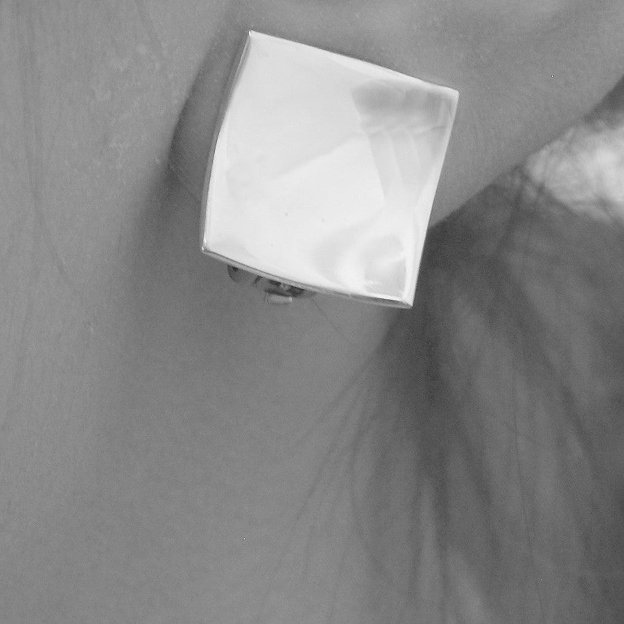 Concave Square Silver Clip On Earrings