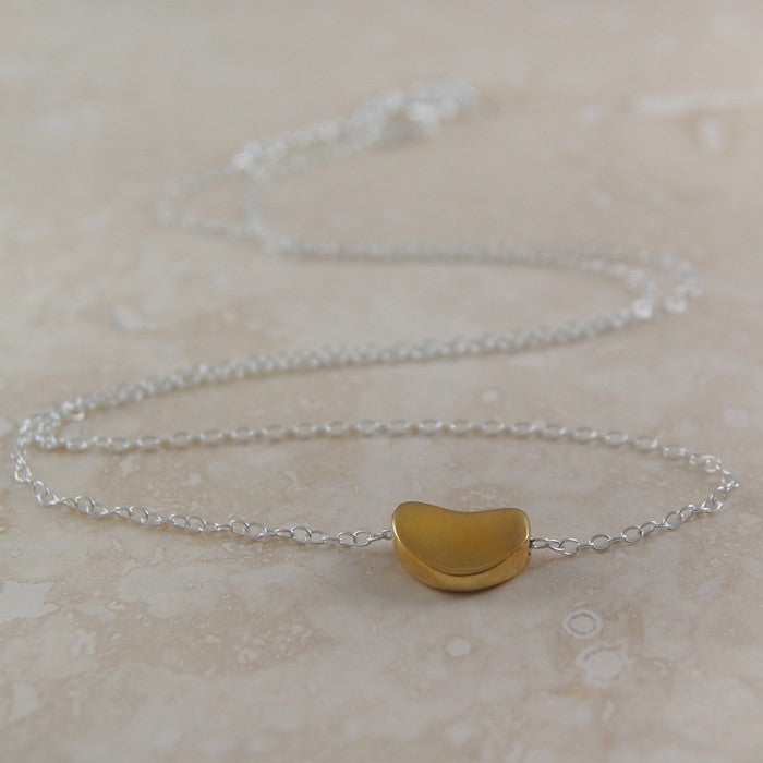 Bean Silver and Gold Necklace - Otis Jaxon Silver Jewellery