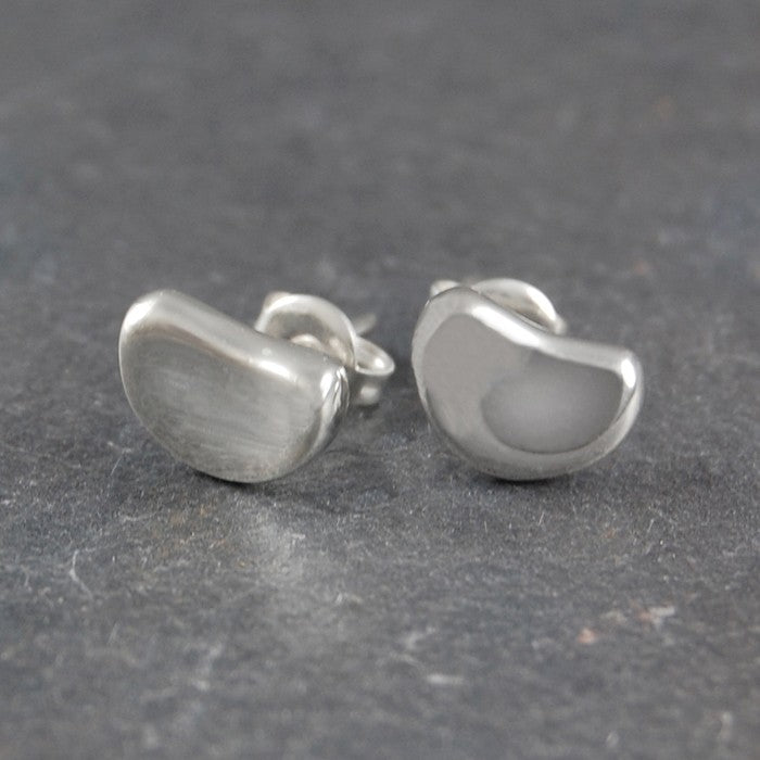 Bean Silver Stud Earrings