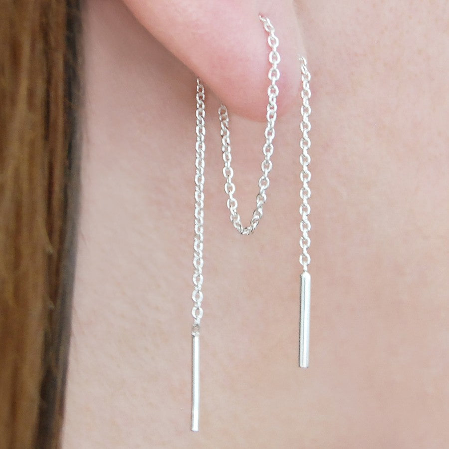 Threader Silver Long Drop Earrings