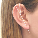 Rose Gold Bar Ear Cuff Earrings - Otis Jaxon Silver Jewellery