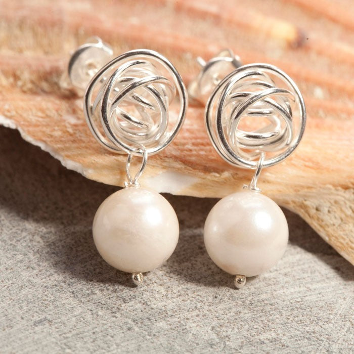Nest Pearl Drop Silver Earrings in White