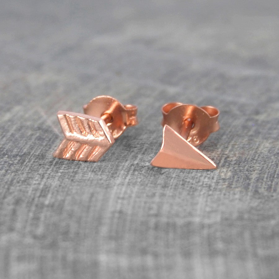 Rose Gold Arrow Stud Earrings - Otis Jaxon Silver Jewellery