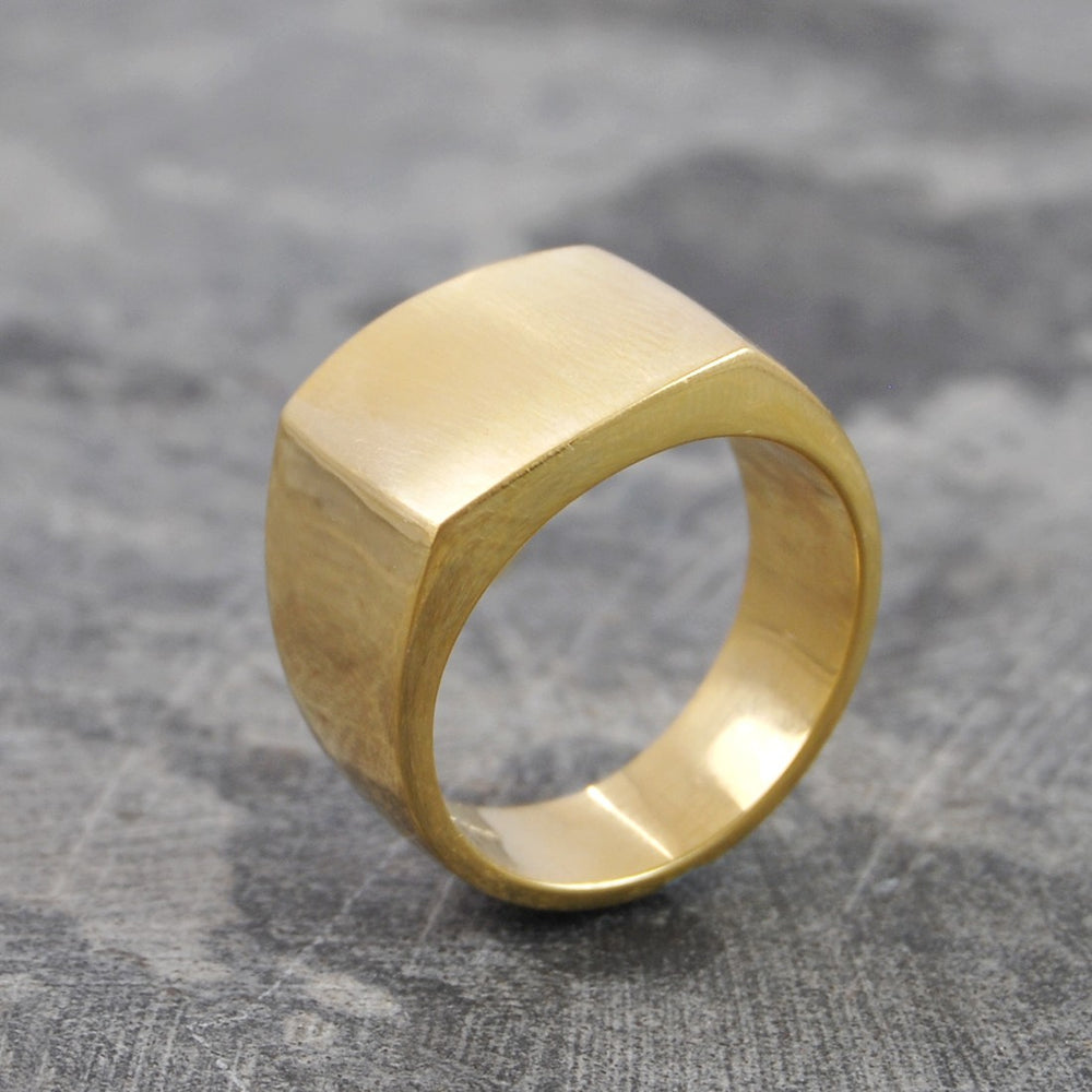Square Signet Gold Ring for Men