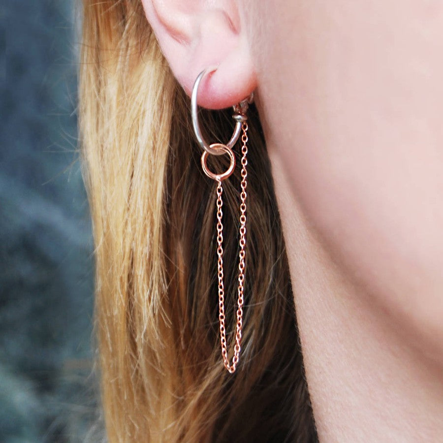 Round Rose Gold Chain Earrings